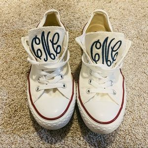 Converse White All Star Sneakers Personalized with Embroidered Monogram Initials